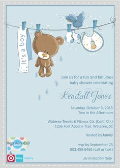 Teddy Bear Baby Shower Invitation Boy, Baby Boy Teddy Bear Blue ...