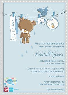 "Created by BG Designs ""Teddy Bear Baby Shower Invitation"""