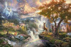 Disney Oil Paintings Thomas Kinkade Bambi's First door ThomasArtwork, $46.00