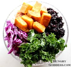 Buddha Bowl with Sweet Potatoes Kale Red Cabbage and Black Rice by The Hungry Goddess Sweet Potato Kale, Black Rice, Tahini Dressing, Buddha Bowl, Red Cabbage, Dressing Recipe, Seaweed Salad, Healthy Recipes, Healthy Food