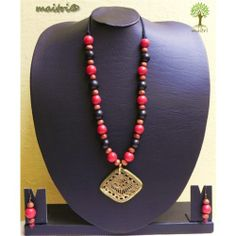 Red-Black Terracotta-Dokra Fusion Jewellery Sets