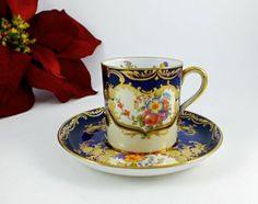 Aynsley Demitasse Cup and Saucer ARISTOCRAT Cobalt Blue and Gold Floral Stunning