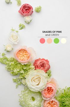 Cute Soft Shades of Pink and Green color palette for a wedding via The Perfect Palette.