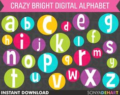 50% Off Sale Digital Alphabet Crazy Bright Circles Clip Art Instant Download. $1.98, via Etsy.