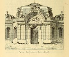 The gate of the stables, Chantilly German Architecture, Neoclassical Architecture, Temple Architecture, Vintage Architecture, Classic Architecture, Architecture Drawings, Historical Architecture, Ancient Architecture, Beautiful Architecture