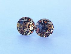 Leopard Faceted Earrings Jewelry 12MM Ready by SouthernStitchesCo