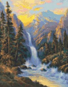 Vintage Wm Thompson Waterfall Cross Stitch pattern PDF - Instant Download! by PenumbraCharts on Etsy