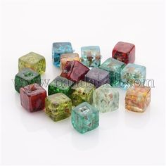10 Silver Foil Lampwork Glass Tube Beads in MATCHED PAIRS 16mm 5 colours