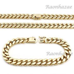 Hip Hop Men 14k Gold Finish Heavy Cuban Link Chain Bracelet 9 24 30 36 Set