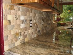 backsplash with crema bordeauc   Integrity Installations..... (A division of…