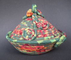Coiled Fabric Basket  Fiesta  TREASURY by lickcreekcollections, $30.00 Etsy