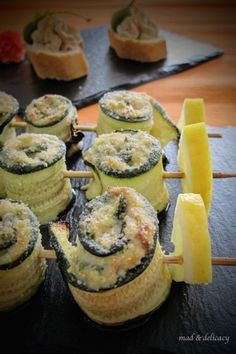 stuffed courgette rolls and tuna mousse