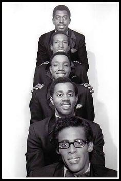 The Temptations (front to back): David Ruffin (1941-1991), Melvin Franklin (1942-1995), Paul Williams (1939-1973), Eddie Kendricks (1939-1992), and Otis Williams.