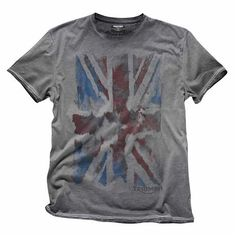 British Union Jack Flag Tee for Men   It doesn't get more classic that the 100% cotton Triumph Union Jack T-shirt with cold dye treatment.   Triumph Motorcycles