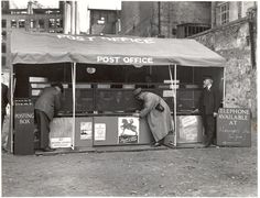 Mobile Post Office for bombed areas - customers use a temporary post office erected in a tent in a bombed-out area of London during the Second World War. Vintage London, Old London, Blitz London, London History, British History, Post Bus, British Home, The Blitz, Battle Of Britain