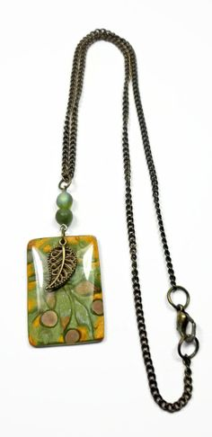 Sage Green Damask Pendant Necklace handmade jewelry by BeadazzleMe, $22.00