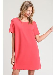 f2e5b57b307d Coral Dress with Scalloped Sleeves - New Release! Coral Dress, Scalloped  Hem, Short