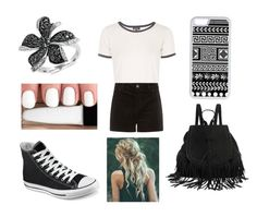 """Updated black and white"" by avameli09 ❤ liked on Polyvore featuring Topshop, CellPowerCases, Effy Jewelry and Converse"