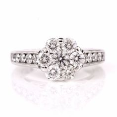 2.40ct 14K White Gold Diamond Flower Ring by AJMartinJewelry