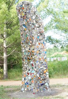 This is Ben Zoltak's 8000 pound concrete, mortar, ceramic and stained glass sculpture on permanent exhibition at the Stevens Point Sculpture Park in Stevens Point, Wisconsin USA