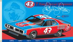 Seven Time Cup Champion Richard Petty, King Richard, Nascar Flags, Nascar Champions, Automotive Art, Nascar Racing, Mopar, Sports Decor, Air Planes