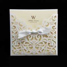 2015 New Arrival 10pcs Wedding Invitation Card Laser Cut Wedding Invitations Paper Cards Party White Bow Decoration