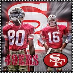 Jerry Rice and Joe Montana Nfl 49ers, 49ers Fans, Nfl Football Players, Sport Football, Football Moms, Cincinnati Reds Baseball, Indianapolis Colts, Pittsburgh Steelers, Dallas Cowboys