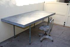 Wonderful Industrial Zinc Top table with heavy steel legs. #1200