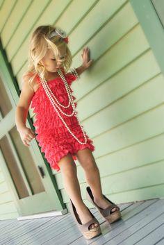 Pinterest Challenge - Day 9 - Sweet Romper Pics - Romper, High Heels & Pearls...a little girls dream :)