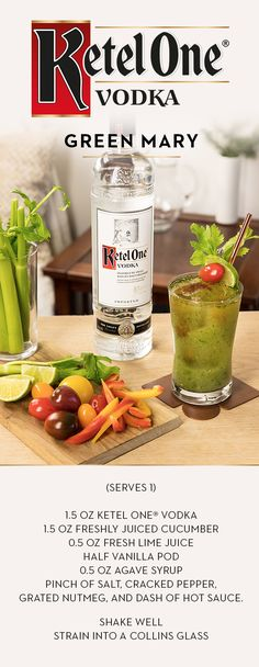 Start your holidays with Ketel One's twist on a classic cocktail that friends and family are sure to enjoy. Craft a Green Mary with Ketel One® Vodka, made with non-GMO grain. Combine oz Ketel One® Vodka, 3 oz freshly juiced equal parts of celery Classic Cocktails, Holiday Cocktails, Cocktail Drinks, Fun Drinks, Yummy Drinks, Cocktail Recipes, Beverages, Smoothies, Ketel One Vodka