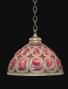 "Tiffany Studios, New York, Favrile Leaded Glass and Patinated Bronze ""Turtleback"" hanging Lamp. Tiffany Stained Glass, Stained Glass Lamps, Tiffany Glass, Leaded Glass, Mosaic Glass, Louis Comfort Tiffany, Art Nouveau, Antique Lamps, Vintage Lamps"