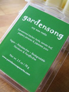 Gardensong Soy Wax Melts - Sun Warmed Herbs, Tomato Leaf, Pimento, Yuzu... Limited Edition - Paintbox Soapworks