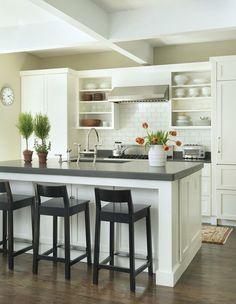 white kitchen cabinets & dark countertops. Barefoot Contessa style.