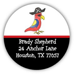 Pirate Parrot Round Address Labels
