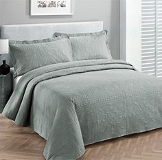 """Fancy Collection 3pc Luxury Bedspread Coverlet Embossed Bed Cover Solid Grey New Over Size 100""""x106"""" Full/queen Fancy Linen http://smile.amazon.com/dp/B013TJ8EL0/ref=cm_sw_r_pi_dp_hUuLwb19NZ6V8"""
