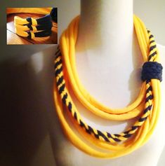 WVU Yellow & Navy Tshirt Infinity Scarf Necklace by embelLUSHme, $18.00