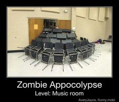 music classroom chairs turned over in a circle for preparedness , Bring on the Zombies apocalypse, love this drum show this year was zombies unleased! drumline was zombies. Music Jokes, Music Humor, Funny Music, Funny Puns, Funny Relatable Memes, Fun Funny, Funny Humor, Pranks Hilarious, Geek Humor