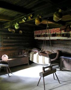 Interior of a traditional rural house, Romania