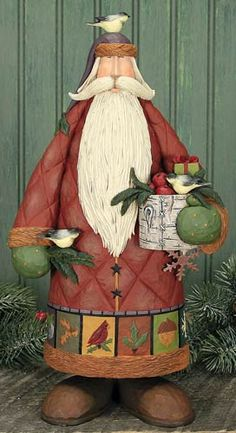 Santa With Chickadees Figurine – Christmas Folk Art & Holiday Collectibles – Williraye Studio - $54.50