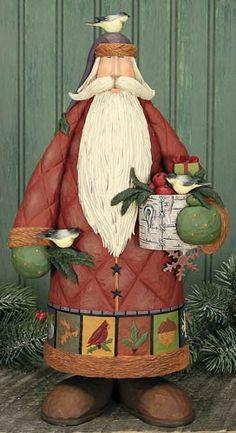 Santa With Chickadees Figurine – Christmas Folk Art & Holiday Collectibles – Williraye Studio - $54.50