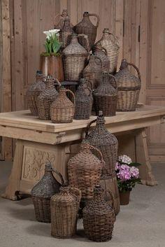 Antique Store Online ~ Belle Brocante ~ www.inessa.com ~ Antique Wicker-Wrapped Wine Bottle ~ Inessa Stewart's Antiques