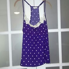 Royal blue polka dot tank Royal blue polka dot tank. Lace-like trim at top. Polka dots and lace are not quite bright white but more of an off white. Adjustable straps. Adorable with jeans and cardigan. Worn once. Says size large but medium could wear. Hangs too much on smalls. Hoping to find in a different size! em  Tops Tank Tops