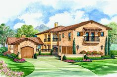 The Villa Palladian courtyard house plan features a master of the floor. As a bonus a guest suite and game room are featured in this Tuscan house plan. Tuscan House Plans, Mediterranean House Plans, Luxury House Plans, Luxury Houses, Dream Houses, Mediterranean Style, Spanish Style Homes, Spanish House, Spanish Colonial