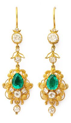 A pair of Victorian gold, Colombian emerald and diamond cannetille earrings, English, circa 1840. Length: 1 7/8 inches. #Victorian #earrings