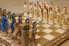 CHESS ♜ Ceramic Handmade Chess Board Greek Gods of Olympus (Big)
