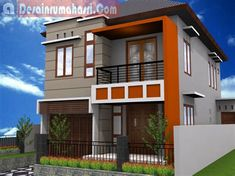 46 Modern Type 36 House Design Ideas - Home-dsgn 4 Bedroom House Designs, Narrow House Designs, Cool House Designs, Simple House Design, House Front Design, Modern House Design, Two Storey House Plans, Small House Plans, Facade House