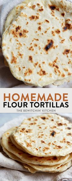 How to make flour tortillas. Homemade tortillas are easy to make, you only need four ingredients! A simple tortilla recipe for delicious southwestern and Mexican nights. (Four Ingredients Recipes) How To Make Flour, How To Make Tortillas, Making Tortillas, Recipes With Flour Tortillas, Homemade Flour Tortillas, Crockpot Recipes, Vegan Recipes, Cooking Recipes, Bread Recipes