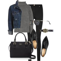 A fashion look from June 2015 featuring cashmere sweater, blue jean jacket and Versace. Browse and shop related looks.