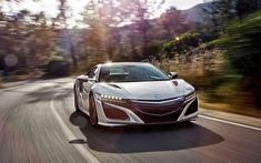 Download wallpapers Acura NSX, 2017, 4k, Japanese sports coupe, silver NSX, sports car, Acura