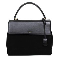 Saint Laurent Classic Sac Satchel Bag in black suede and leather b542eb04d592d